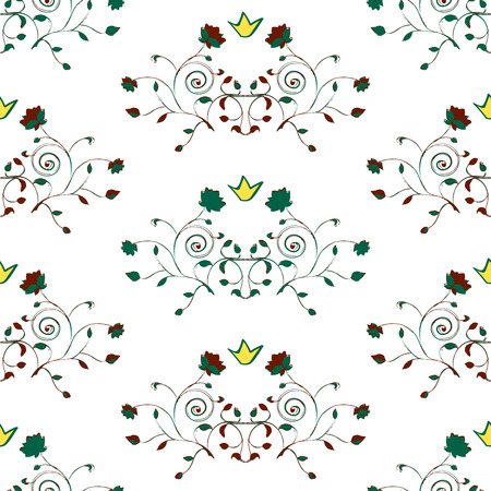 green brown: floral seamless pattern with crown green brown yellow vector