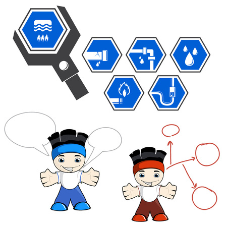 crack pipe: cute plumber with wrench and signs vector