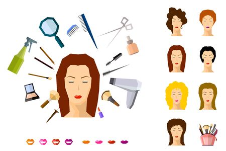 hairdress: girl face makeup beauty salon spa hairdress set vector