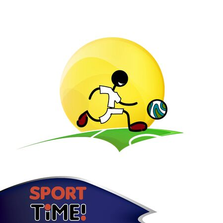 playing field: soccer football player with ball on playing field vector Illustration