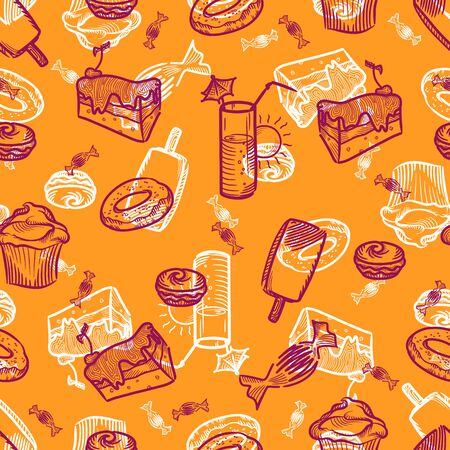 slick: doodle drawn sweets cake icecream cupcake candy juice summer seamless background orange white purple vector