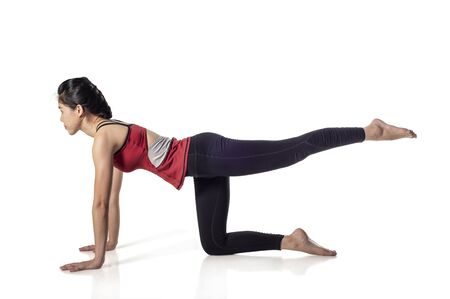 woman exercising fitness Yoga excercises in isolated on white background , with clipping path.