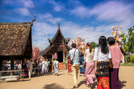 October 31, 2020, Chiangmai, Thailand. The Kathin Festival is a traditional Buddhist festival celebrated by villagers. Colourful parades and offering ceremonies at Wat Ton Kwien, Hang Dong northern thailand. traditional concept