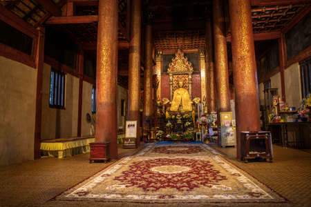 October 31, 2020, Chiangmai, Thailand., The Gold Load Buddha statue,  Ancient Buddha images at Wat Ton Kwien temple in Chiangmai, Thailand
