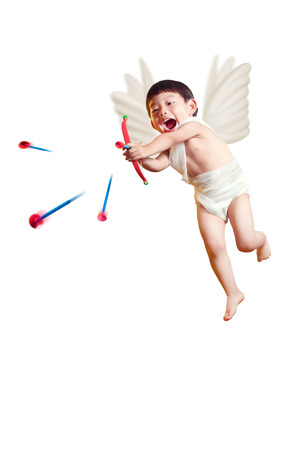 valentine cherub: asian boy cupid with a bow and arrows isolated white with cliping path Stock Photo