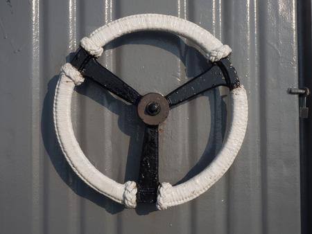 safty: Door handles on the battleship Stock Photo