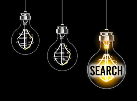 Light bulb concept on the theme of research and seo Banco de Imagens