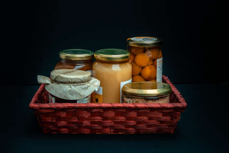 Gift basket with gourmet products, jars and preserves of local products