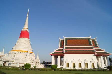 samutprakarn: Pagoda and ubosot in Samutprakarn of Thailand