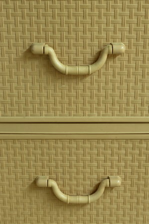 residence: Yellow or brown texture of wardrobe handles in residence Stock Photo