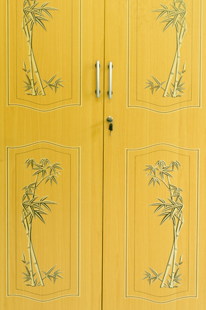 residence: Yellow or brown texture of wardrobe doors in residence