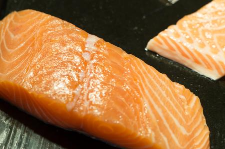 Salmon meat on sale in super market