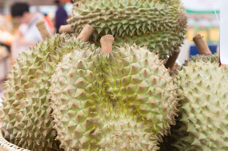 Ripe durians on sale in pile in supermarket, delicious durians, king fruit, sweet durians, healthy durians