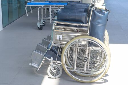 Medical wheelchairs and stretchers at hospital for handicap and patients, medical wheelchair equipment prepared for patient and handicap at hospital