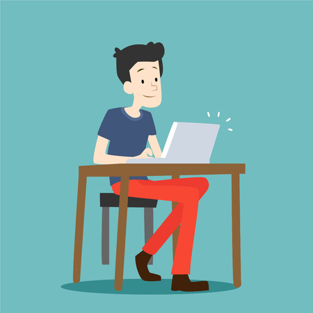 school class: boy sitting on chair at table in front of laptop Illustration
