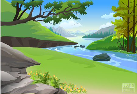 spring season: Riverside Hills and Rock nature landscape Illustration
