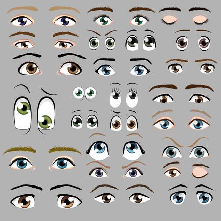oči: Cartoon oči vector set Ilustrace