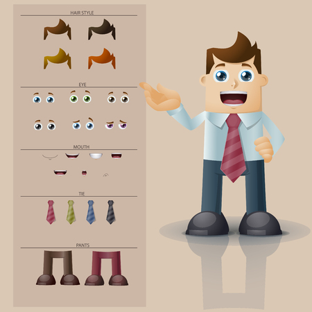 body parts: Businessman. Parts of body template for design work