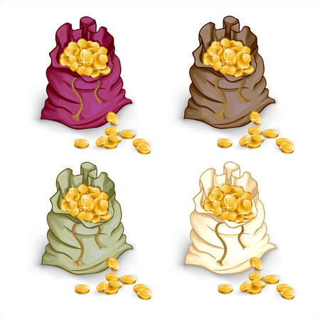 currency glitter: Bag with coins cartoon illustration on the white background Illustration