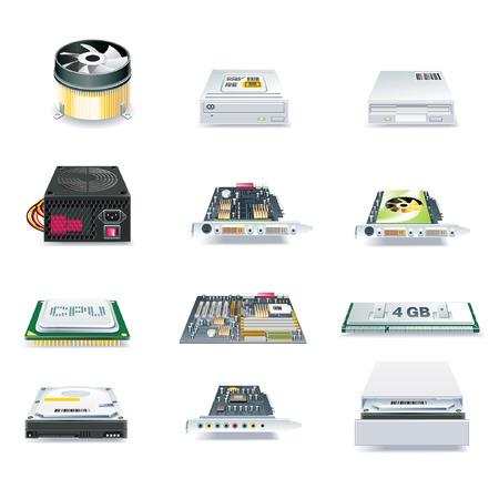 Hardware Computer parts vector set