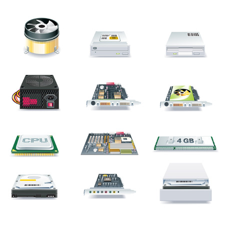 Hardware Computer parts vector set