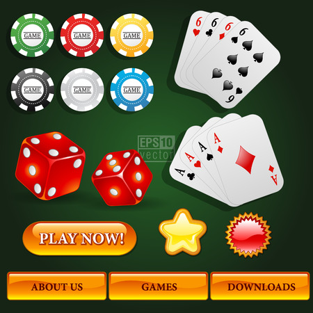 interface elements: Gambling casino user interface elements pack Illustration