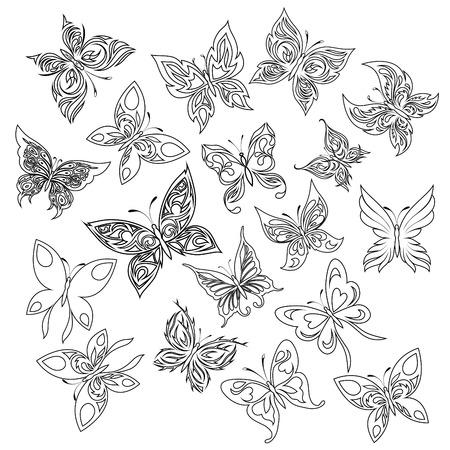 set of vector hand drawn butterflies Imagens - 41762697