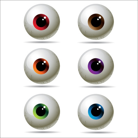 contact details: cartoon realistic eye set