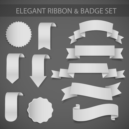 elegant vector ribbon and badge set
