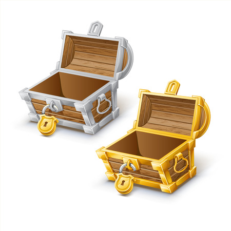 Opened antique gold and silver treasure chest Illustration