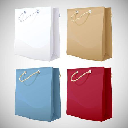 unprinted: 4 de papel bolsa de la compra de vectores