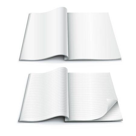 open magazine: White blank open magazine book paper vector illustration