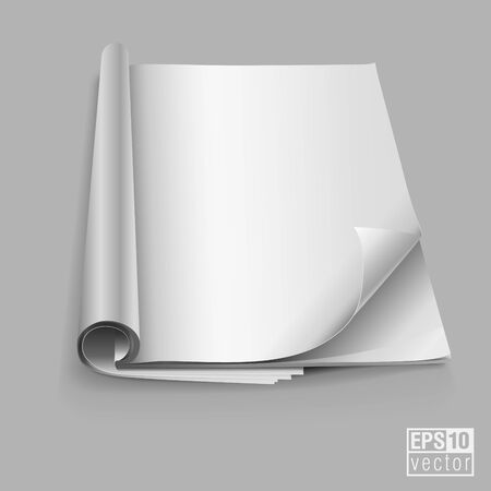 open magazine: White blank open magazine book paper vector illustration