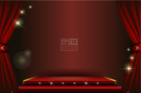 Empty stage with red curtain in expectation of performance Vectores
