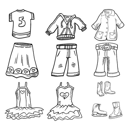 bikini top: Clothing Doodles  Vector Illustrations