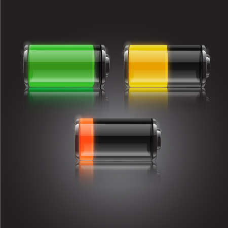 recharge: battery status icon symbol charger power yellow vector electricity full fuel electric disposable green electrode nickel red load recycling recharge chemical supply polarity illustration half energy object electrical collection cadmium strength volts color Illustration