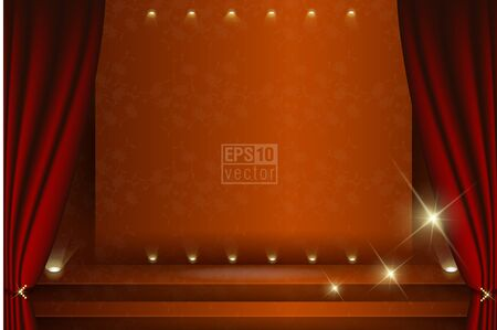 Vector drawing theater stage with red curtain Ilustração