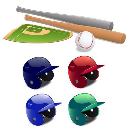 equipment:  set of baseball equipment Illustration