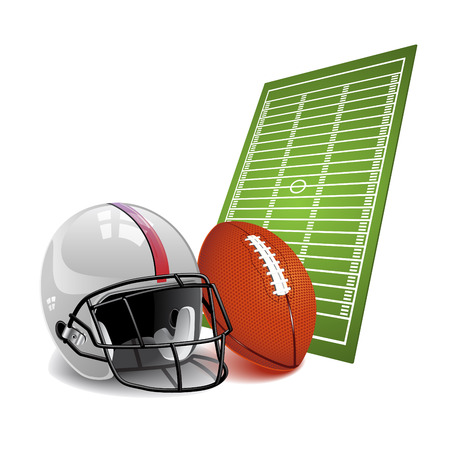 Football, field with helmets