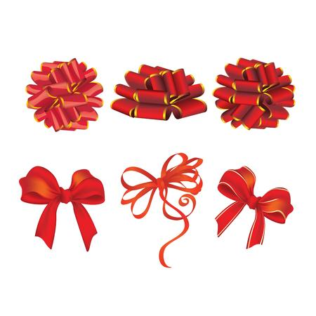 ribbons and bows: set of red gift bows with ribbons