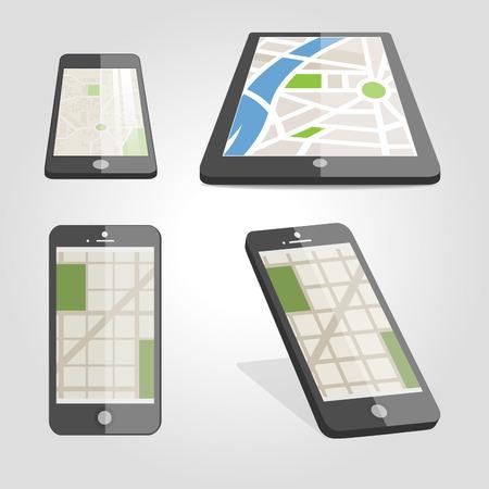 Global Positioning System, navigation. Vector illustration Ilustração