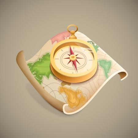 hideout: map cartoon style vector illustration