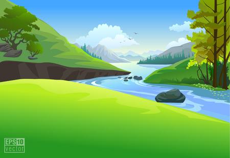 birds of paradise: river landscape vector