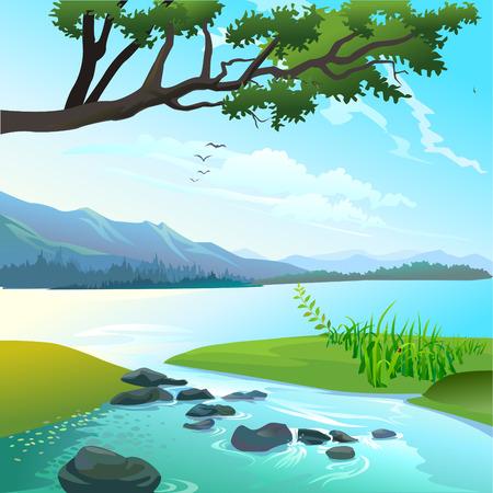Flusslandschaft Vektor- Standard-Bild - 43797424