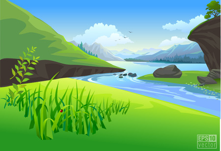 sky and grass: river landscape vector