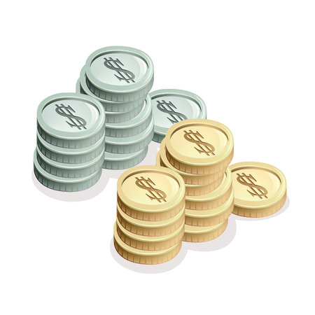 Generic silver, gold, coins.