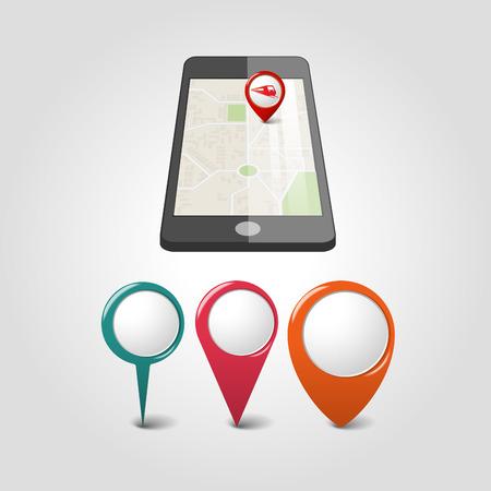 global navigation system: Global Positioning System, navigation. Vector illustration Illustration