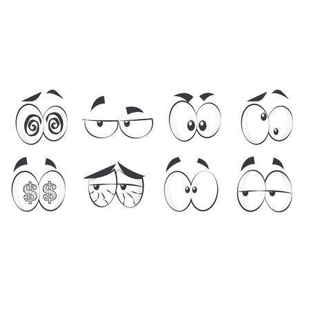 with sets of elements: Cartoon eyes collection Illustration