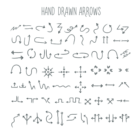 describe: arrows set, hand drawn arrows set, sketched style Illustration