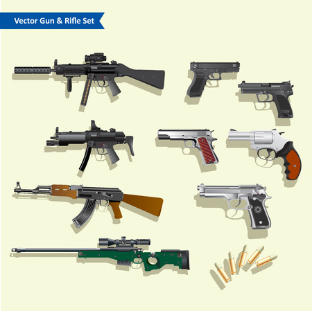 frag: Gun vector set Illustration